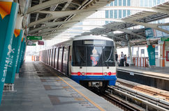 Skytrain. BTS skytrain while running for service at platform of station in Bangkok city, Thailand Stock Images