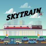 Skytrain in the city.railcar. electric train. traffic jam - vect Royalty Free Stock Images