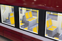 Skytrain compartments. The red compartment of light rail Royalty Free Stock Photography