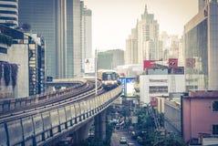 Skytrain da cidade de Banguecoque Foto de Stock