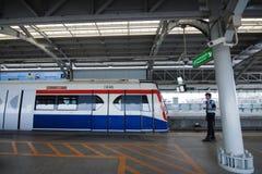 Skytrain di BTS alla stazione di Bangna Fotografia Stock Libera da Diritti
