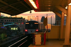 Skytrain in a Downtown Subway Station. Bangkok Mass Transit System, Thailand Royalty Free Stock Photography
