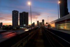 Skytrain. The skytrain going to the city, Bangkok, Thailand Stock Images