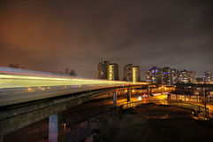 Skytrain light trails Royalty Free Stock Photo