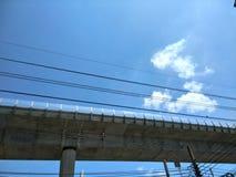 Skytrain railway. Skytrain over the road against blue sky, Bangkok Royalty Free Stock Photos