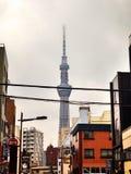 Skytree和云彩 免版税库存图片