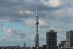 Skytree tower landmark dominating Tokyo skyline. Asian cityscape. Skytree tower dominating Tokyo skyline. Futuristic architecture in modern urban cityscape stock photo