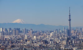 Skytree van Tokyo met MT Fuji stock foto's