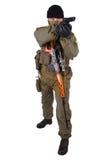 Skytt med handeldvapengeväret Arkivbilder