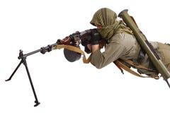 Skytt med maskingeväret Fotografering för Bildbyråer