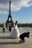 Skyttebröllop i Paris Arkivfoton