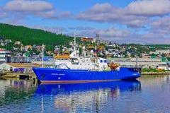 Skyttel Akademik Shatskiy i port Tromso Norge Royaltyfri Foto