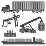 Skyttel för skepp för kran för behållareladdarlastningsbrygga Royaltyfria Bilder