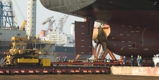 Skyttel i den torra skeppsdockan Singapore Fotografering för Bildbyråer
