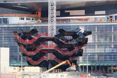 Skyttel under konstruktion, ny gränsmärke av New York, Hudson Yards, Manhattan västra sida, NYC royaltyfria bilder