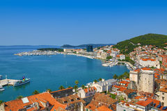 Skyview av hamnen i splittring, Kroatien Fotografering för Bildbyråer