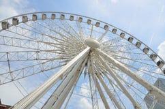 Skyview Ferris Wheel Atlanta, Georgia. Atlanta, Georgia - May 25, 2014: Skyview Ferris Wheel in Atlanta, Georgia. The 200 ft tall ferris wheel showing rider's Royalty Free Stock Images