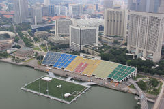 Skyview of the Float at Marina Bay. The worlds largest floating stage. It was the venue of the 2010 Summer Youth Olympics opening and closing ceremonies. The Royalty Free Stock Image