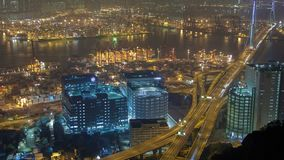 skyview Nighttime-упущения с движением порта контейнера в Гонконге Лоток вверх видеоматериал