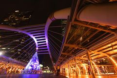 Skywalk在曼谷,泰国 免版税库存照片