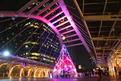 Skywalk на Бангкоке, Таиланде Стоковая Фотография