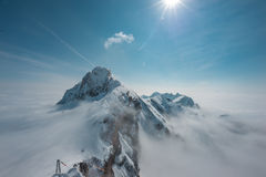 Skywalk al ghiacciaio della montagna di Dachstein, Steiermark, Austria Fotografia Stock