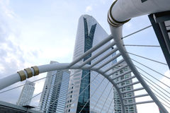 Skywalk of architecture bridge downtown in Bangkok. Royalty Free Stock Photo