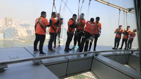 Skywalk Macau Tower stock video