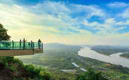 Nong Khai ,Thailand - October 20 , 2018 : Skywalk on cliff by Mekong River at Wat Pa Tak Sua royalty free stock images