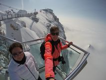 Skywalk na geleira da montanha de Dachstein, Steiermark, Áustria Imagens de Stock