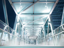 Skywalk in night city Royalty Free Stock Images