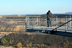 Skywalk at open cast mining Royalty Free Stock Image