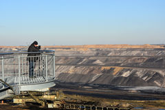 Skywalk at open cast mining Stock Image