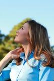 Skyward Gaze. Attractive business woman gazes skyward Stock Images