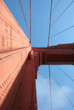 Skyward kijkend op Golden gate bridge, San Francisco Stock Afbeelding