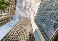 Skyward view of Canary Wharf buildings - London, UK Stock Photos