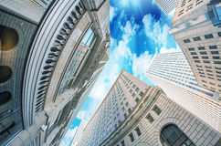Skyward view of city skyscrapers Royalty Free Stock Photography