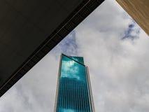 Skyward view of downtown stock photos