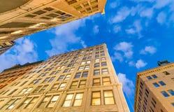 Skyward view of urban skyscrapers Stock Photo