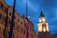 Skywards acrobatische dansen Stock Foto