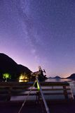 Skywatcher and Milky Way Stock Image