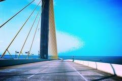 Skyway bridge. Fishing pier sunshine stock photography