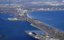 Skyway bridge, Hamilton Burlington aerial Stock Photo