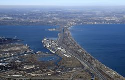 Skyway bridge, Hamilton Burlington aerial Stock Photo