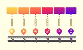 Skyway roadmap timeline elements with markpoint graph think search gear target icons. vector illustration eps10. Skyway roadmap timeline elements  vector stock illustration