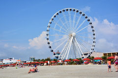 SkyWheel. MYRTLE BEACH SOUTH CAROLINA JUNE 29 2016: SkyWheel when it opened on 20 May 2011 it was the second-tallest extant Ferris wheel in North America, after Royalty Free Stock Images