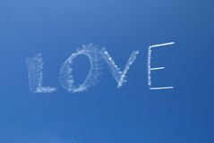 Skywriting. The word Love on a clear day royalty free stock photography