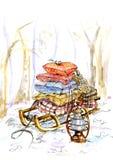 Släde med kuddar och gåvor för ferien Målat i vattenfärg royaltyfri illustrationer