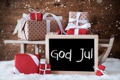 Släden med gåvor, snö, snöflingor, guden Juli betyder glad jul Royaltyfri Fotografi