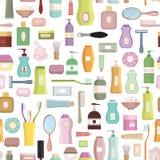 Släkt fastställd bakgrund för skönhet omsorg Sömlös patt för hygiensymbol royaltyfri illustrationer